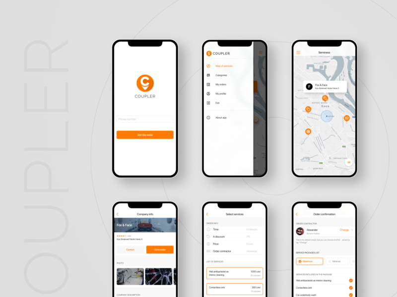 Coupler client IOS app mobile app design figma ui services search map ios mobile app