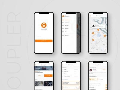 Coupler client IOS app mobile app design figma ui services search map ios mobile app
