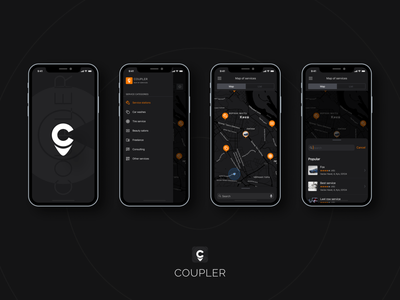 Coupler connect – marketplace of services. IOS app (night mode) marketplace of services marketplace marketplace app night mode ui design search app map app map ios app figma app design app