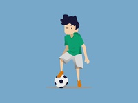 Playing Football Illustration