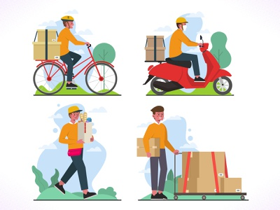 Home Delivery Worker coronavirus sending package driver icon bundle shop covid new normal illustration design dribbble icon ux ui vector