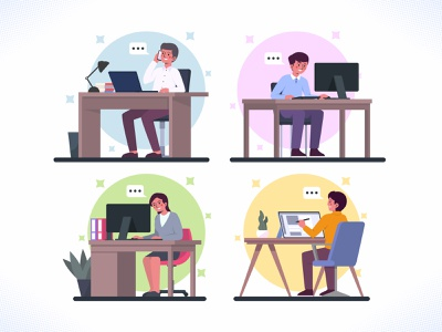 Office Workers busy women woman design ux ui icon dribbble bundle collection set flat design vector illustration work