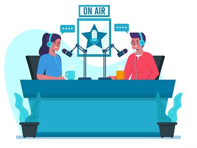 Podcast Illustration Concept collection set man work on air new normal flat design illustrations web icon bundle illustration dribbble ux ui vector
