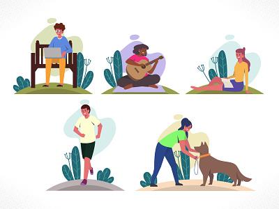 Summer Outdoor Activities collection set bundle flatdesign enjoy fun man youth playing flat web branding illustration dribbble ux ui vector