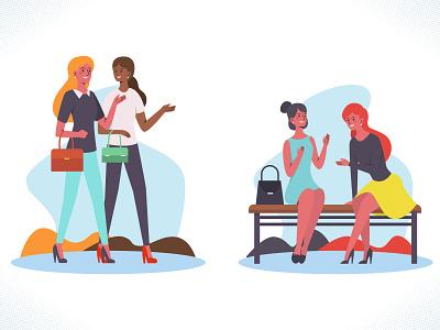Female friendship talks friends girls women collection set minimal flat web branding illustration design dribbble ux ui vector