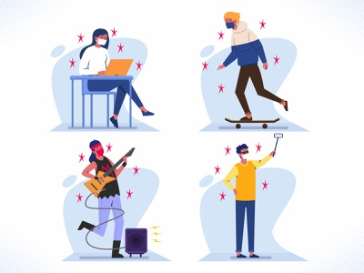 New Normal Scene flat design vector popular mask collection set illustration sale bundle coronavirus covid19 playing youth new normal covid