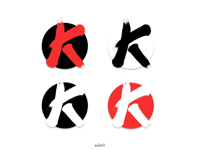Letter K logo figma streamer youtuber manga japon logo design design letter k logo