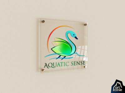 Aquatic Sense (Cosmetics Brand Logo) aqua teal greens water illustration elegant calm green natural magnificent creative unique feminine cosmetics beauty care art brand identity branding logomark logo