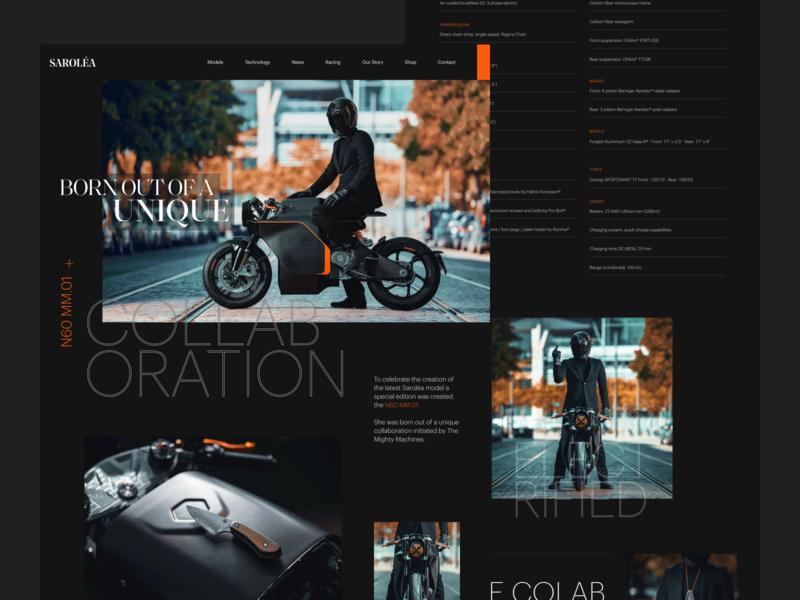 Sarolea N60 MM.01 Motorcycle black homepage electric motorcycle grid landing page web design clean website dark ui minimal figma typography