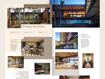 Whistler Ski House ui grid flat home design architechture web design web minimal landing page homepage clean website