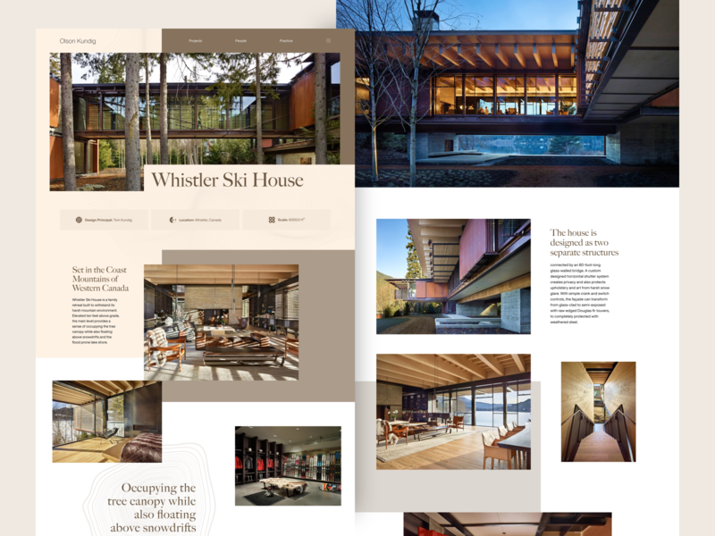 Whistler Ski House ui grid flat home design architechture web design web minimal landing page homepage clean website