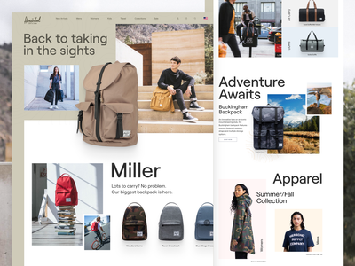 Herschel Supply Co. Redesign product store ecommerce outdoor backpacks