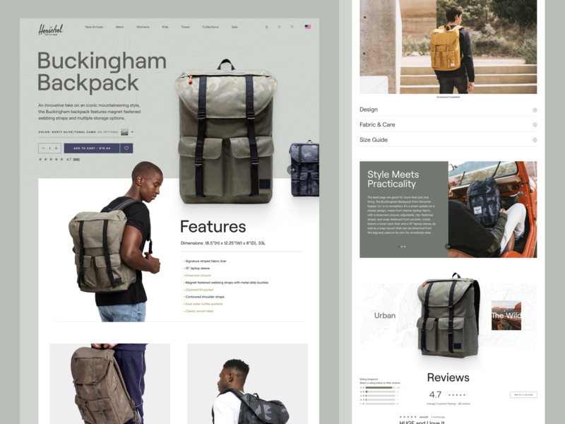 Herschel Supply Co. Product Page figma web web design outdoor product product page store ecommerce design ecommerce outdoors backpack