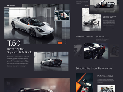 Gordon Murray T.50 Supercar homepage landing page web design website grid typography transportation sports car automobile auto