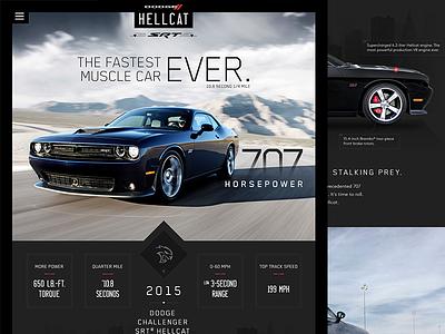 Dodge Hellcat Redesign dodge hellcat car hotrod website landing page ui ux web homepage web design flat