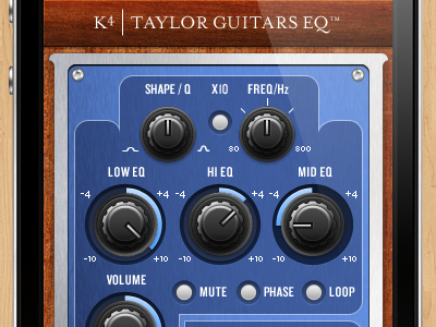 Taylor Guitars K4 EQ iphone app iphone app eq guitar preamp knobs buttons wood metal blue brown mobile interface 3d mobile mobile app