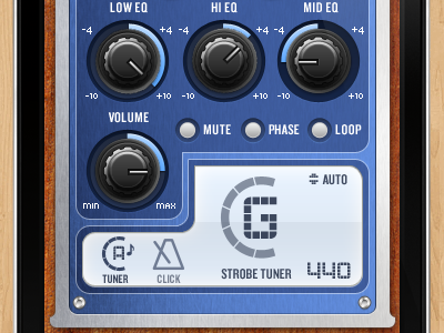 Taylor Guitars K4 EQ iphone app Tuner iphone app eq guitar preamp knobs buttons wood metal blue brown mobile interface audio tuner mobile app