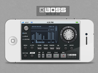 Boss BR-80 iphone app iphone audio app digital recorder buttons mobile interface music mobile app