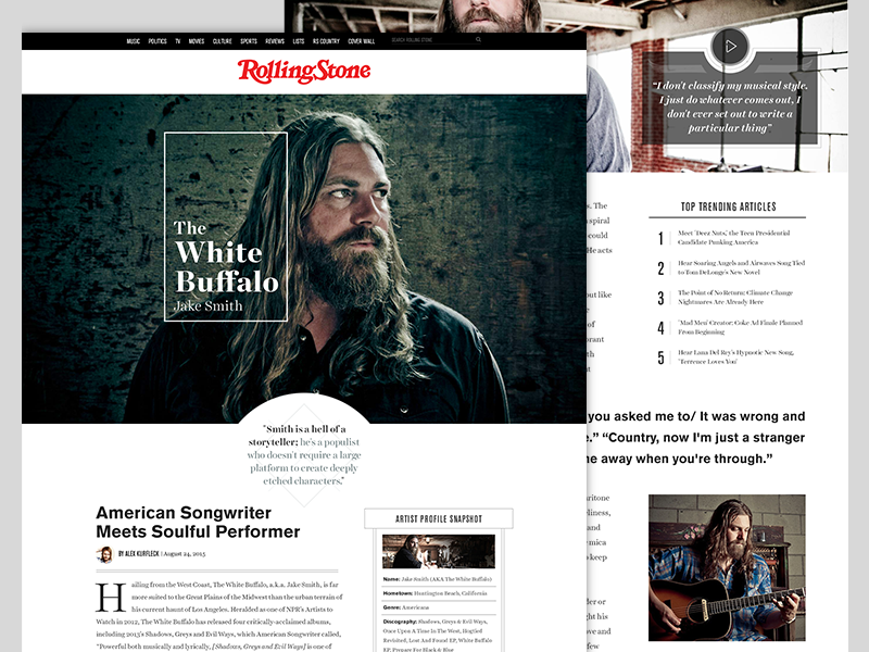 Rolling Stone website redesign concept editorial concept website layout serif typography rolling stone flat redesign magazine web