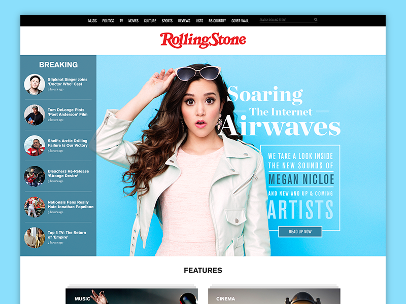Rolling Stone homepage website redesign concept editorial homepage typography serif rolling stone magazine layout redesign concept flat web website