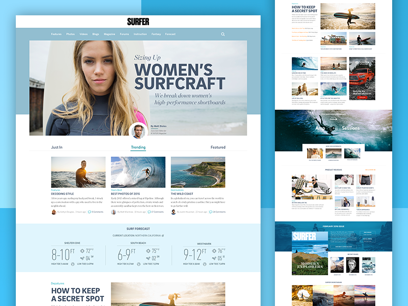 Surfer Magazine Website Redesign editorial landing page web design flat layout ui surfing surf minimal clean redesign magazine
