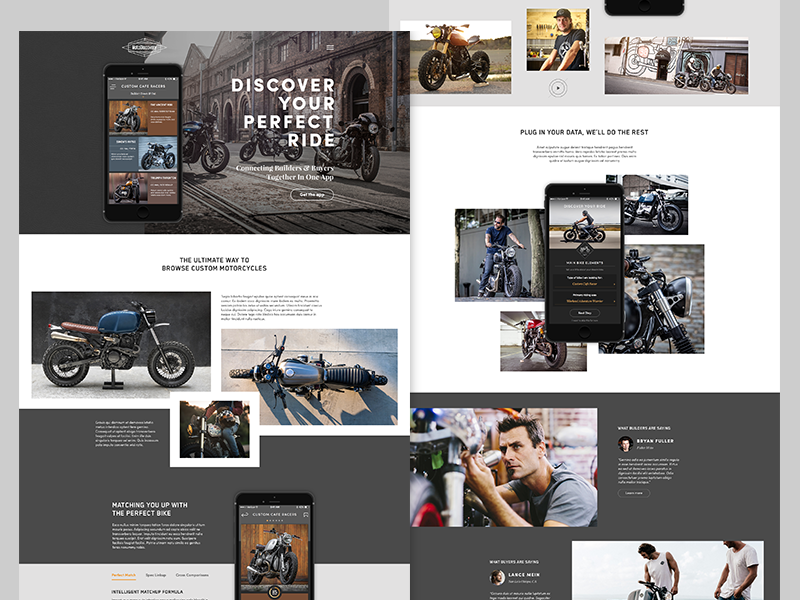 MotoDiscovery app promo website landing page motorcycle iphone ios ui