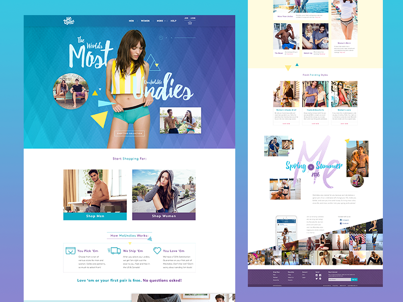 Meundies Homepage Redesign redesign ui homepage product clean flat e-commerce fashion