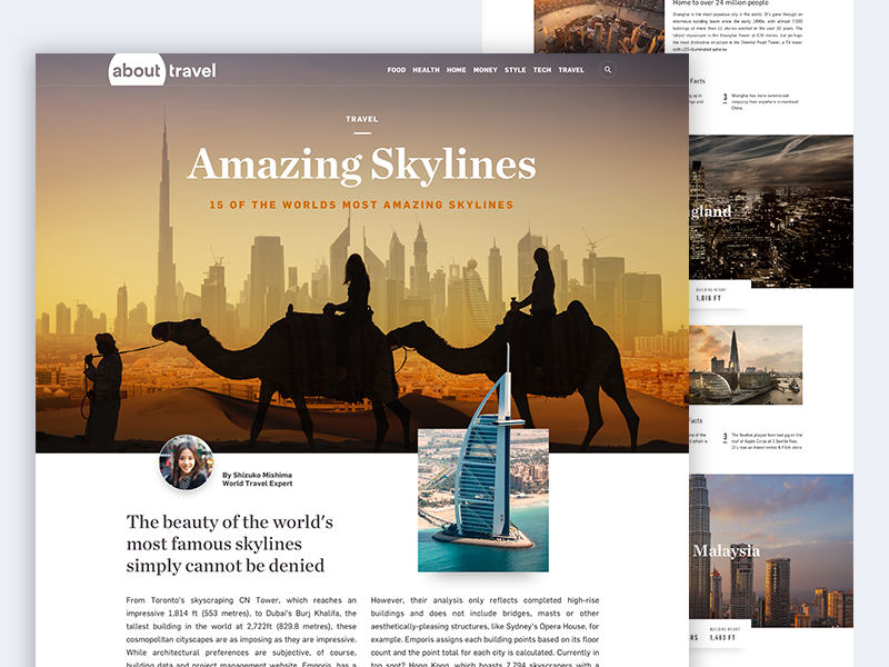 About.com Travel Article editorial ui magazine clean article website minimal flat skylines travel