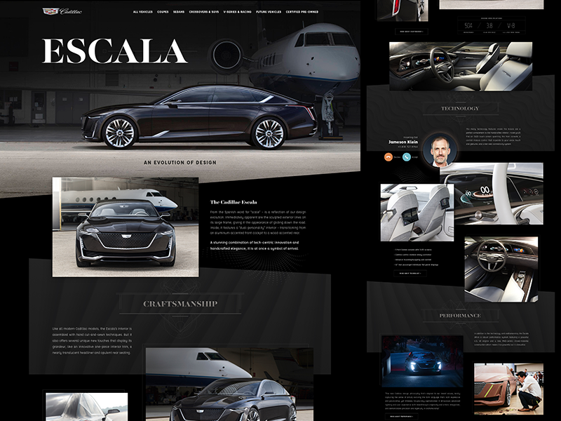Cadillac Escala ui clean flat website automotive car cadillac