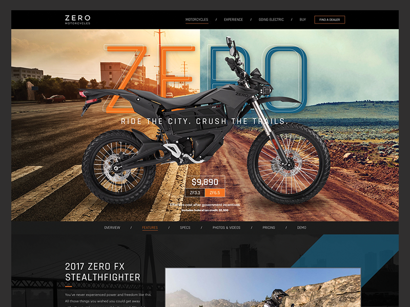 Zero Electric Motorcycles ui website grid clean landing page web design web product motorcycle