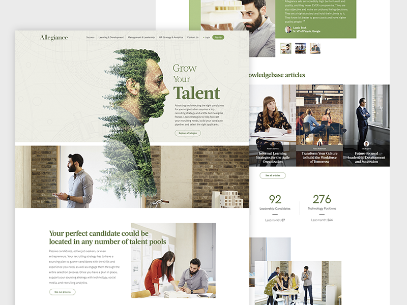 Allegiance Talent web design ux ui flat website talent acquisition agency grid modern clean homepage