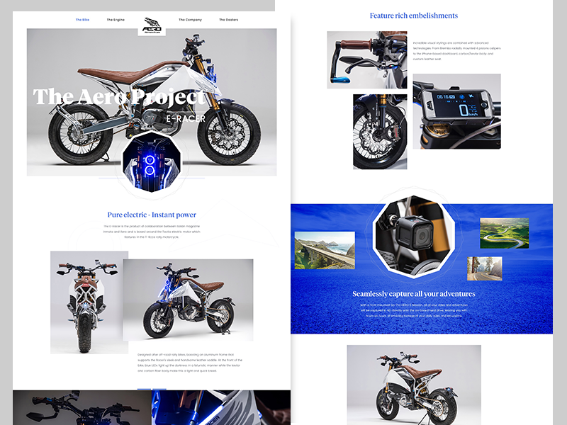 Aero E-RACER Electric Motorcycle product website web ux ui grid electric web design motorcycle serif minimal clean