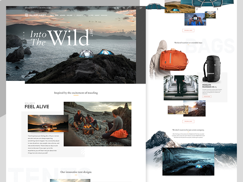 Heimplanet homepage website web ui product landing page homepage web design tent wilderness travel adventure outdoor