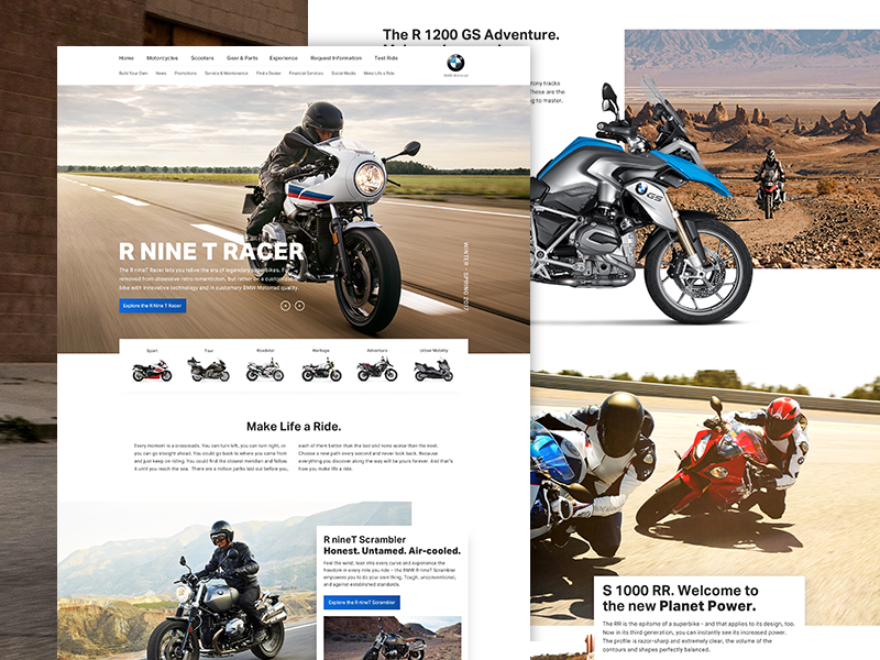 BMW Moto redesign exploration website landing ui homepage web design motorcycle bmw concept