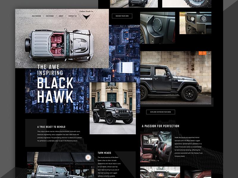Black Hawk Jeep website ui flat clean dark landing page automotive jeep