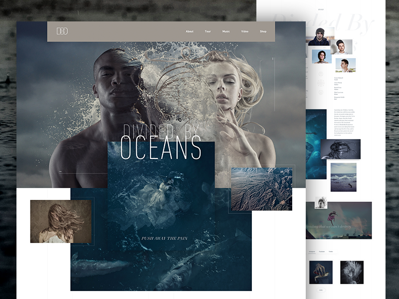 Divided By Oceans heavy metal band music grid clean homepage landing page website