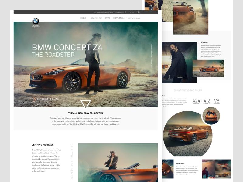 BMW Z4 Roadster grid flat minimal clean ux ui web design landing page automotive auto car bmw