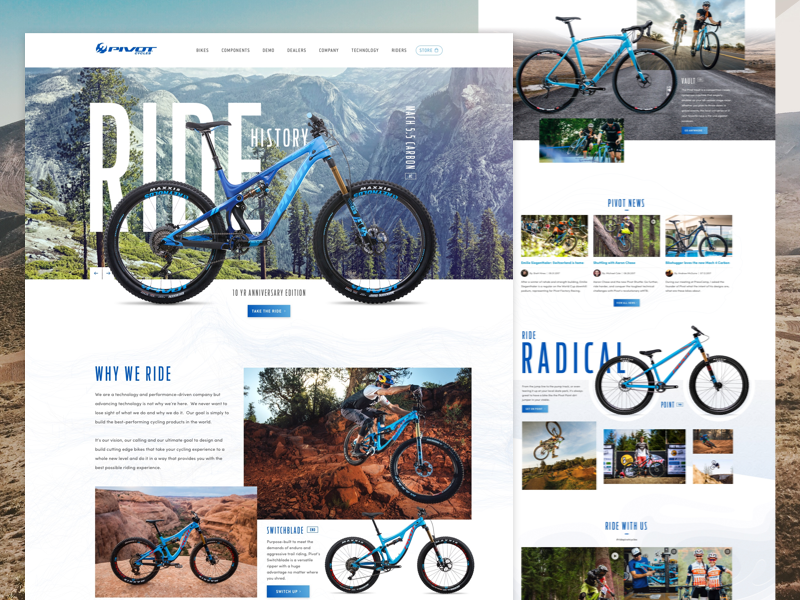 Pivot Cycles Redesign website bicycle bike outdoor mountain bike clean grid minimal product mobile iphone x