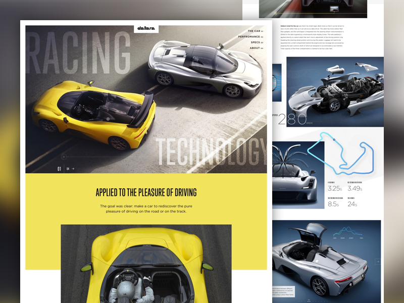 Dallara Stradale automotive car race car clean grid minimal landing page homepage ui web design