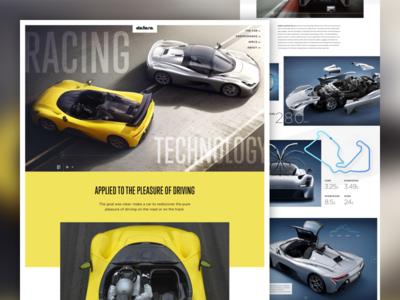 Dallara Stradale automotive car race car clean grid minimal landing page homepage ui web design
