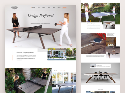 Woosley Outdoor Ping Pong Table clean ecommerce web design minimal furniture ping pong product landing page