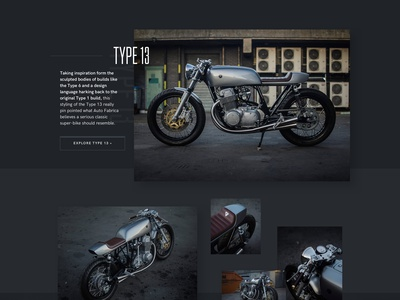 Autofabrica Motorcycles Homepage clean cafe racer motor bike moto motorcycle homepage landing dark minimal grid ui web design
