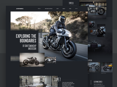 Autofabrica Motorcycles Homepage clean cafe racer motor bike moto motorcycle homepage landing dark minimal grid ui web design