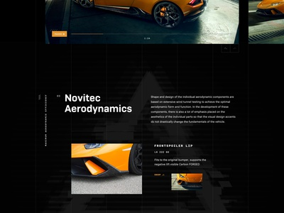 Novitec Lamborghini Huracan Performante supercar transportation website grid layout black dark huracan ui design typogaphy grid design homepage landing page clean ui deisgn dark design car automotive design ecommerce lamborghini