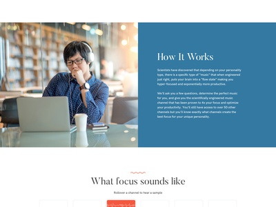 Focus at Will Music Homepage redesign white background product minimal web design mobile app flat ui design ux design music music app focus homepage design landing page iphone app clean music service icon design grid layout