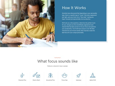 Focus at Will Music Homepage redesign focus audio music music app music service mobile app clean homepage landing page