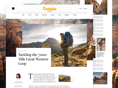 Outside Magazine Article Page blog editorial design web site web design publication ux design ui design minimal article page layout travel hiking grid clean outside magazine editoral article magazine nature outdoors