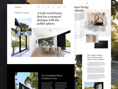 Platform House by studioplusthree web design clean landing page real estate website ui ux house design architechture
