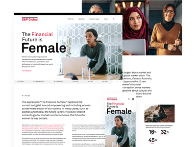 The Financial Future is Female future financial ui clean website women survey data landing page homepage report