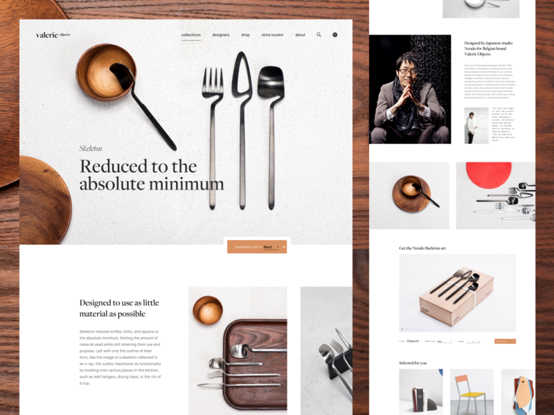 Nendo Skeleton Cutlery shop ux design ui deisgn web design clean minimal product page cutlery dinnerware product ecommence landing page